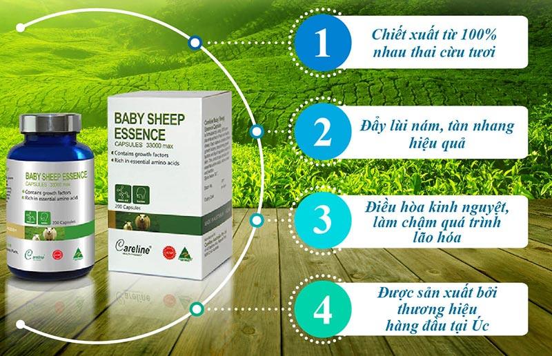 Image result for Viên Nhau Thai Cừu Baby Sheep Essence 33000 Hộp 200 Viên trị nám, trắng da hiệu quả