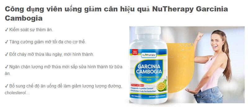 giảm cân nutherapy garcinia cambogia có tốt không