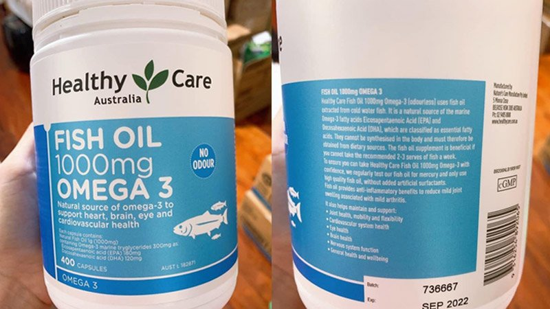 thanh phan vien uong dau ca healthy care fish oil 1000mg omega 3